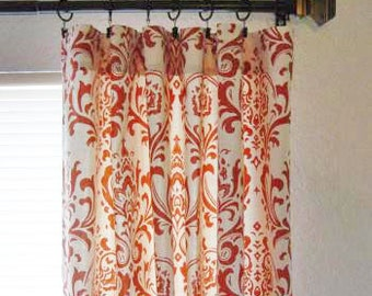 Damask Custom Curtain Panels Orange, Unlined, Lined or Blackout Lined, Other colors available, Sold in Pairs