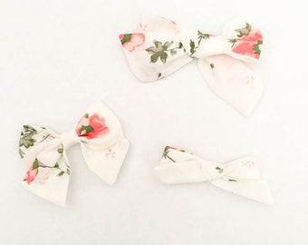 Fabric Bow, Hand Tied Fabric Bows, Baby Girl, Toddler, Girls Fabric Bow Headband or Hair Clip