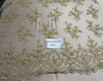 Royalty Bridal luxury wedding beaded gold mesh lace fabric. Sold by the yard