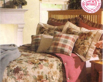 McCalls 9623 Sewing Pattern Home Decorating Bedroom Essentials Reversible Duvet Cover Dust Ruffle Pillow Shams Throw Pillow Lap Throw Uncut