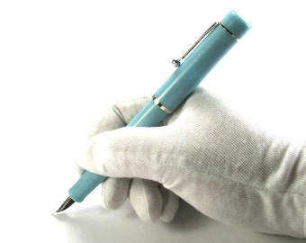 Original Hand Crafted Fountain Pen, Blue Turquoise, Discount Special! Free Shipping Within CONUS