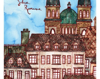 SIBIU ROMANIA Print 11X14 Ink and Watercolor Painting