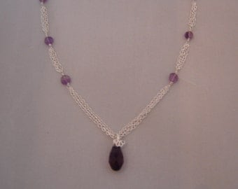 Amethyst, Sterling Silver Necklace With Drop