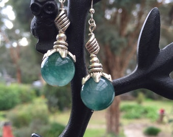 Dark Green Jade and Tibetan silver earrings