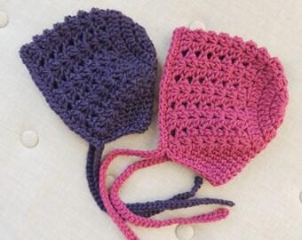 Crochet Baby Bonnet, LuvBeanies, Purple Baby Bonnet, Fuschi Baby Bonnet, Pink Baby Bonnet, Infant bonnet, Newborn bonnet, baby girl bonnet