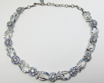 Vintage - Collectible - Rhinestone Floral Necklace - Jewelry - Silver - Rhinestones - Floral - Necklace - Elegant - Clear - Baguettes - Coro