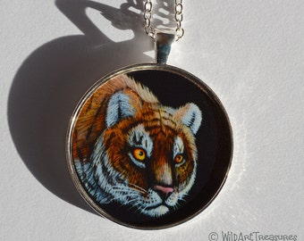 Tiger Necklace, Wildlife Pendant, Tiger Jewelry, Birthday Gift, For Her