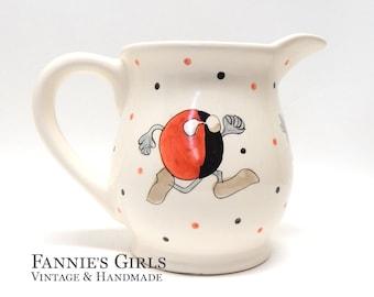 Unique Pitcher, ceramic pitcher, pottery pitcher, decorative pitcher, black and red, kitchen decor, funny, wierd, kitchen kitsch, odd decor