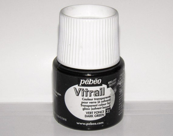 Pebeo vitrail 35 dark green color imitation of stained for Solvent based glass paint