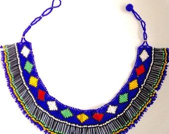 MADE iN SOUTH AFRICA Beaded tassel choker bib necklace// blue