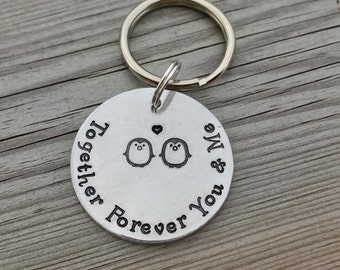 Hand Stamped Personalised Penguin, Couple, Love Keyring Valentine's gift for him, for her, best friends, Christmas gift