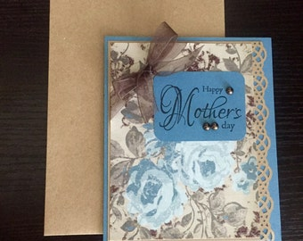 Mother's Day Card, Blue Mother's Day Card, Floral Mother's Day Card,