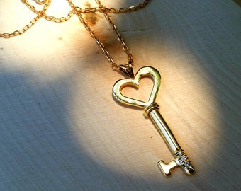 14K Solid Gold Heart Key Necklace