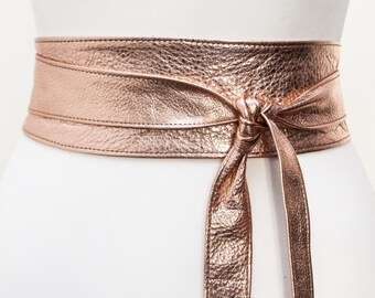 Rose Gold Leather Obi Belt | Rose Gold Sash Belt | Leather tie belt | Leather wrap Belt | Bridesmaid Belt | Waist Belt | Plus Size Accessory
