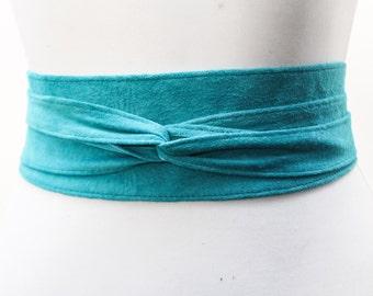 Turquoise Suede Leather Obi Belt | Bridesmaid Belt | Sash tie belt | Suede Belt| Plus Size Belt