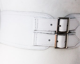 White Corset Leather Two Silver Buckle Belt | White Belt | Corset Waist Belt | Leather Buckle Belt | White Leather Buckle Belt