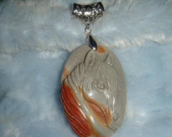 Carved Succor Creek Jasper Horse Pendant