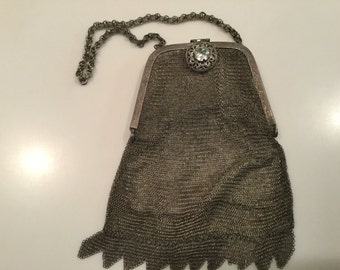 Sterling mesh purse with rhinestone clasp.