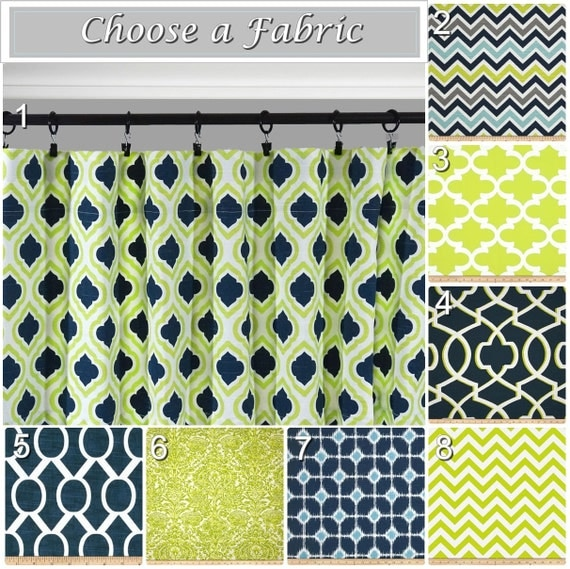 Navy Window Curtains.Lime Green Drapes.Blue Grey Curtain