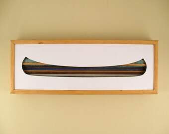 """Canoe - 24"""" by 8"""" Recycled Wood Silhouette Wall Art"""