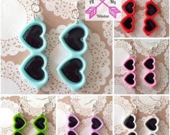 Kawaii sunglasses earrings, Kawaii earrings, Cute sunglasses earrings, Cute earrings, Heart earrings,
