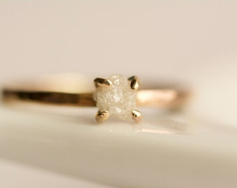 Rough Diamond Engagement Ring. Raw Diamond Ring. White Diamond Ring. Raw White Diamond Ring. Rose Gold Diamond Engagement Ring.