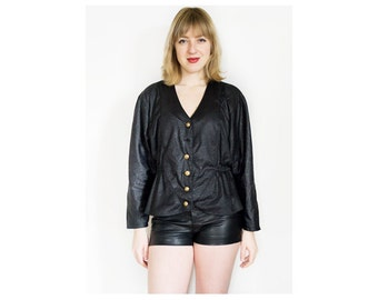80s Black Peplum Top | Vintage Top | Crop Top | Crop Jacket | Black Top | Peplum Jacket - Size L Large