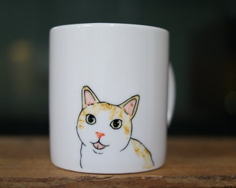 Hand painted animal mug cup - Cute mug cup -Cat mug cup