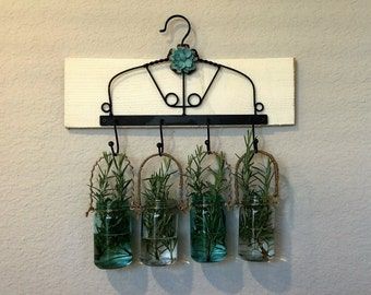 Shabby Chic, Rustic, Farmhouse, French Country, Cottage Mason Jars with Metal Hanger