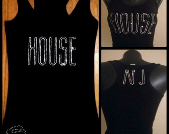 Bling House Music Tank Top w/Customizable Abbreviation on back