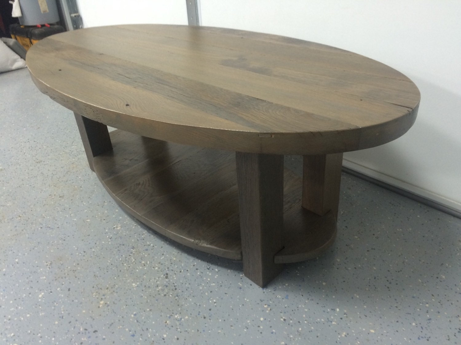 Reclaimed Wood Coffee Table Oval Solid Oak Barn Wood Top And