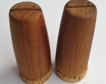 Wood Salt and Pepper Shakers with Cork Stoppers