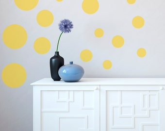 Wall Decals Circles Multiple Size - Black White Blue Green Orange Yellow Red Grey Pink Purple Silver Gold