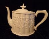 White on White Teapot, Grace Teaware Shabby Chic Teapot, White China Teapot, Victorian Home Teapot, White Fine China Serveware