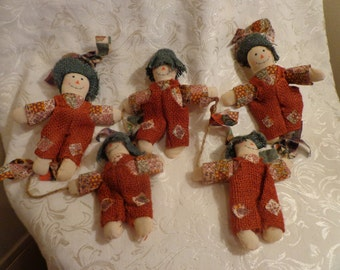 Scarecrow Garland, String of Raggedy Scarecrows, 5 Burlap Scarecrows on a String