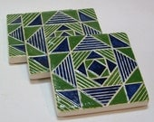 Blue and green coaster set/set of 3 geometric coasters /Christmas gift/handmade tile coasters