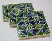 Blue and green coaster set/set of 3 geometric coasters /Christmas gift/handmade tile coasters