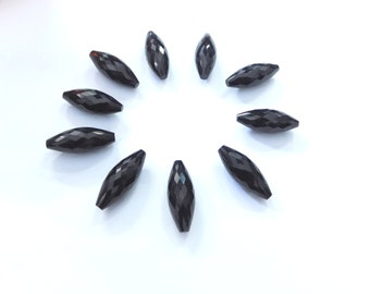 On Sale AAA Genuine Black Onyx Handmade Faceted Rice Shape Beads 8x18 mm-Straight Full Drilled-Free Shipping
