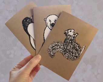 Cute penguin, polar bear, squirrel cards, blank note cards, Greeting Cards or Art to frame, nursery art, wall art