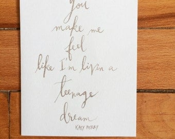 Teenage Dream by Katy Perry Lyrics Card