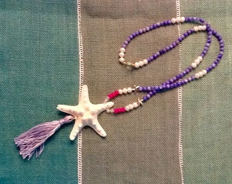 Starfish wish tassle necklace