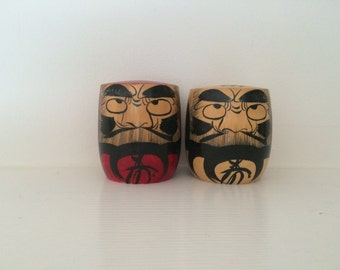 Japanese Hand Painted Wooden Figures -