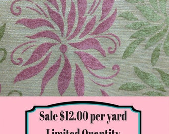FABRIC SALE!!!  Pinwheel Floral Fabric - Pink and Green - Upholstery Fabric By The Yard - Fabric Sale