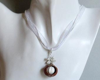 Natural ornaments hazelnut chain costume jewelry ceramic bead enamel loop