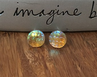 Gold Shiny Stud Earrings. Nickel Free. Light Weight. Plastic. #2