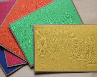 5 Embossed Cards.  Floral Embossed Cards.  Embossed Note Cards. Kraft paper Cards. Embossed Stationery. Blank Note Cards