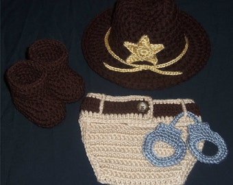 Crocheted Newborn Sheriff's Hat & Diaper Cover Set