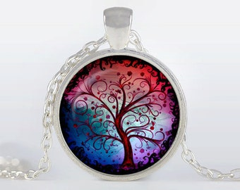 Tree of life Pendant, Tree of life Necklace, Silver plated pendant, Tree of life Jewelry, blue, red, black