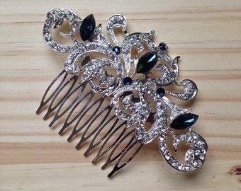 Art Deco Style Sapphire Blue and Clear Diamanté Wedding Comb - Bride/Bridesmaids
