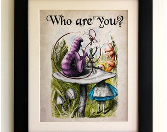 FRAMED Alice in Wonderland Print - Alice with the Caterpillar Quote, Vintage Style, Shabby Chic, Wall Art Print, Fab Picture Gift